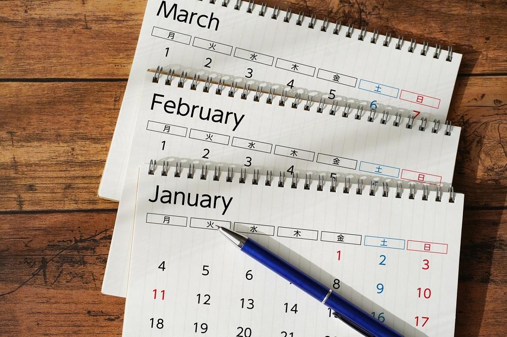 卓上のカレンダー